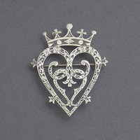 SCOTTISH Luckenbooth Sterling Crown HEART Brooch WEDDING Jewelry Signed Hamish Dawson Bowman, Entwined Hearts Love Token, Celtic Bridal Gift
