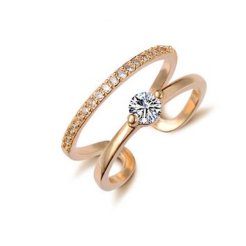 Fashion selling temperament simple crystal zircon ring genuine gold plating opening ring
