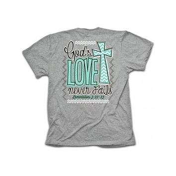 Cherished Girl God's Love Never Fails Chevron Cross Girlie Christian Bright T Shirt