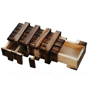 Wooden Puzzle Box With Secret Wood Drawer Magic Compartment Brain Teaser Toys for Children Gift Wooden Toys