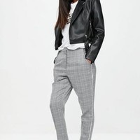 Missguided - Grey Prince Of Wales Cigarette Pants