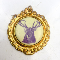 Antique medal, Badge, elk deer stag, watch fob, prize, historical memorabilia, cast metal, medallion, pendant