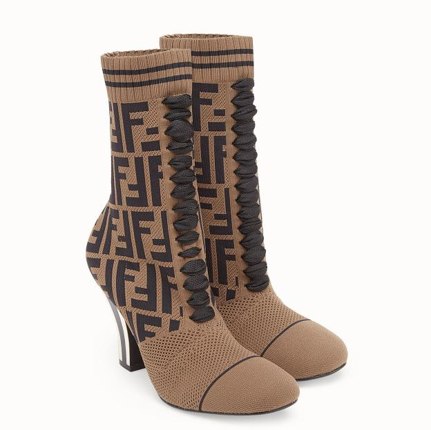 Image of Fendi coloured fabric and ankle boots