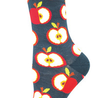 Women's Apples Comfortable Novelty Crew Socks - Cotton/Lycra/Nylon