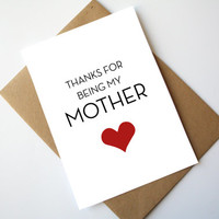 Mother's Day Card Father's Day Card Happy Mother's Day Happy Father's Day Thanks for being my Mother / Father Red Heart