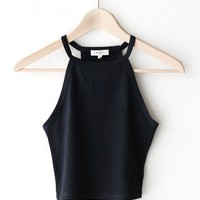 Sleeveless Crop Top - Black