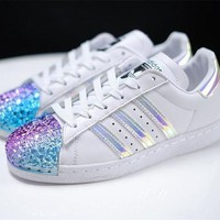adidas Originals White Superstar 80S Trainers With Colorful 3D Metal Toe Cap Sneakers