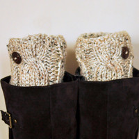 BOOT CUFFS Socks Button Leg Warmers  Oatmeal Beige Wheat Cozy Earth Neutral Forest Nature Knit Gift under 50