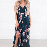 Party Guest Floral Jumpsuit (Dark Teal)