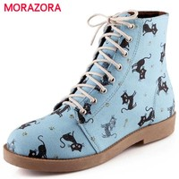 MORAZORA Cartoon animation new arrive cat lace up autumn winter women boots sweet fashion low heel round toe ankle boots