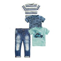Jeans Sets For Kids Boys Baby clothes children boy clothing set Summer Stripe Car truck 3piece shirt + Trousers Jeans