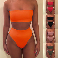 S-XL 2016 Women Bandage Bikini Set Push-up Swimsuit Bathing Swimwear Suit 5 Colors Green Orange Red Black Pink Women Swimsuit
