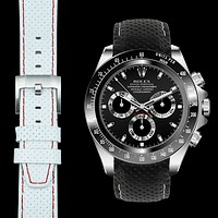 Curved End Racing Leather Strap for Rolex Ceramic Daytona with Tang Buckle