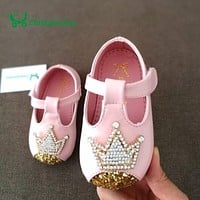 0-4 Years Old Baby Kids Girls Shoes Cute Rhinestones Pu Leather Gold Toddler Girl Shoes Comfort Pink Princess Party Strap Shoes