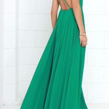 Women's Elegant Kelly Green Chiffon Criss Cross Open Back Maxi Dress Perfect for Weddings