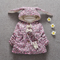 Warm Winter Baby Girls Parkas Floral Hooded Cotton Thicken Jackets Coat Outerwear Snow Wear Casaco+bag