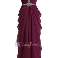 Beatiful Sweetheart Wine Red Prom Dress Beaded A-line Chiffon Evening Dress(PR72168)