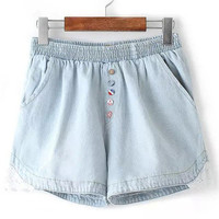 Blue Elastic Waist with Lace Accent Denim Shorts