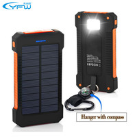 2017 Waterproof  Dual USB Portable Solar Charger Battery with LED Light&Compass
