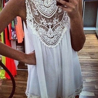 White Lace-Paneled Mini Dress