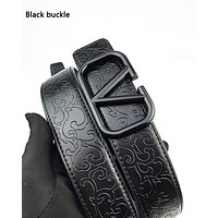 Valentino fashion casual belts for men and women are selling embossed belts Black buckle