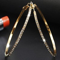 Fashion Hoop Earrings With Rhinestone Big Circle Loop Earrings
