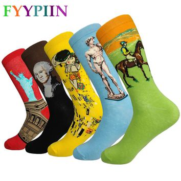 2018 Real Men's Socks Color Stripes Five Pairs Of Happy Man With Final Design Costume Fashion Designer Style Fun Cotton 5style