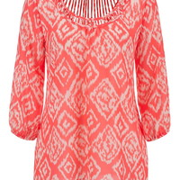Lattice Back Printed Chiffon Blouse - Pink