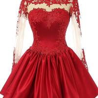 Short Prom Dress ,homecoming dress with long sleeves P033