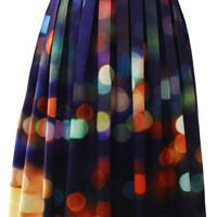Chicwish Neon Light Pleated Midi Skirt Multi