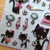 jewellery cat movie star Sticker Diamond ring cat puffy sticker Cat lady pussy cat high fashion jewelry seal label rhinestone scrapbook