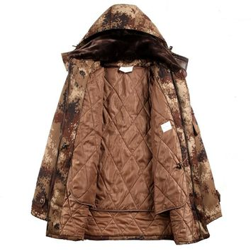 Men Camouflage Hunting Coat Jacket Men Outdoor Hiking Windstopper Winter Insulated Warm Camping Army Tactical Camouflage Parkas