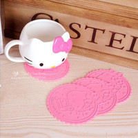 Hello Kitty Cute silicone dining table placemats coaster kitchen accessories mat cup mug  placemats coaster mats & pads 1 piece