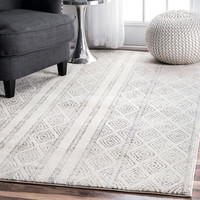 nuLOOM Contemporary Geometric Diamond Grey Rug (8' x 10') | Overstock.com Shopping - The Best Deals on 7x9 - 10x14 Rugs