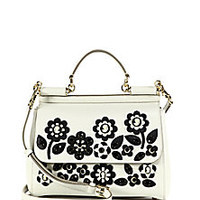 Dolce & Gabbana - Sicily Medium Floral Cameo Textured Leather Top-Handle Satchel - Saks Fifth Avenue Mobile