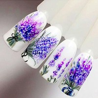 Lavender Nail Stickers on Nails Blooming Flower Stickers for Nails Lavender Nail Art Water Transfer Stickers Decals ZJT097