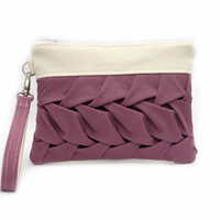 Rose Bridesmaid Bag, Mauve Wristlet Purse, Small Clutch Purse, Bridesmaid Clutch, Rose Pleated Handbag, Bridesmaid Gift, Rose Clutch Bag
