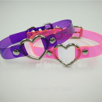 Harajuku Punk Gothic Rock Handmade Vinyl Choker Pink Purple Clear PVC Transparent Heart Collar Buckle Necklace