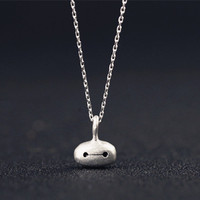 Adorable Big Hero Chibi Baymax Face Silver Necklace SP152023