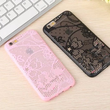 Luxury Lace Relief Hard Case For Apple iPhone 6 6s 6Plus 6sPlus Mobile Phone Cases Cover Protective Skin Shell
