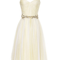 Daffodil Chantilly Lace And Tulle Cocktail Dress by Marchesa - Moda Operandi