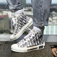 Dior CD mesh lace-up sneakers low-top flat sports hip-hop sneakers letter high-top shoes men and women casual shoes
