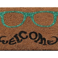"""A1HC -First Impression Green Glitter Glasses Welcome Doormat, 18"""" X 30"""""""