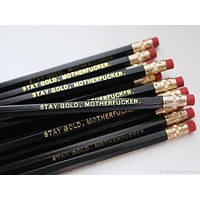 Stay Gold, Motherfucker Pencil Set in Black | Set of 5 Funny Sweary Profanity Pencils