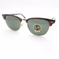 Ray Ban Clubmaster 3016 F 55mm W0366 Tortoise Gold New Sunglasses Authentic