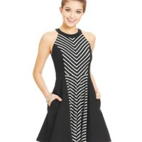 City Studios Juniors' Scalloped-Trim Belted Dress | macys.com