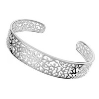925 Sterling Silver Plated Filigree Cuff Bracelet