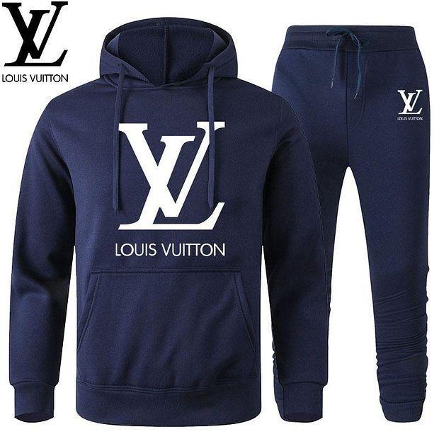 Image of Louis Vuitton LV Classic hot sale printed letter logo hooded sweatshirt trousers two-piece suit
