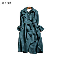 Women Spring Trench Coat 2017 Fashion Office Ladies Green Blue Pink Grey Suede Trench Coat Women Plus Size Long Trench Coat