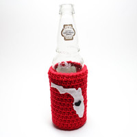Florida Beer Bottle Koozie, State Accessories, Crochet Coffee Cozy, Tampa Can Koozie, Red and White Travel Drink Holder
